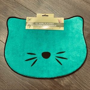 NEW Pet food bowl placemat teal green cats dogs